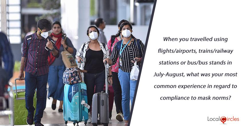 When you travelled using flights/airports, trains/railway stations or bus/bus stands in July-August, what was your most common experience in regard to compliance to mask norms?