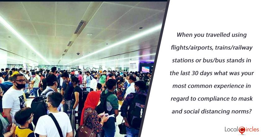When you travelled using flights/airports, trains/railway stations or bus/bus stands in the last 30 days what was your most common experience in regard to compliance to mask and social distancing norms?