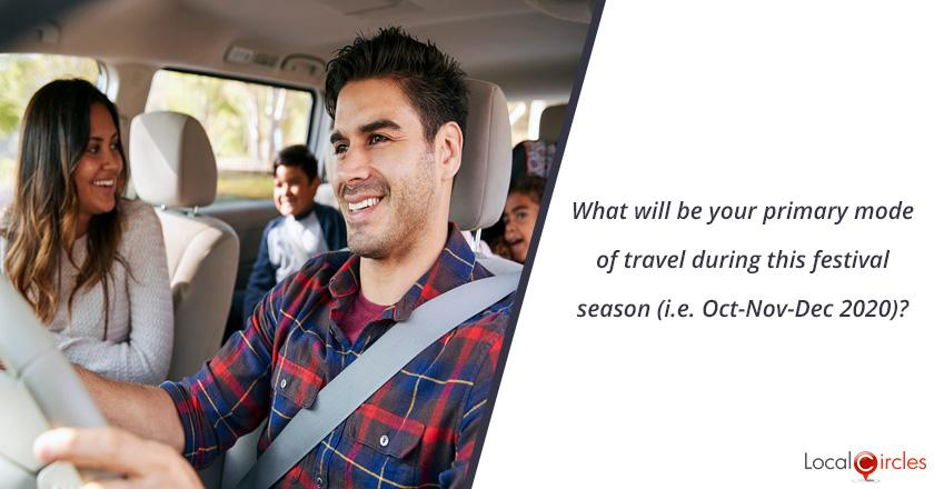 What will be your primary mode of travel during this festival season (i.e. Oct-Nov-Dec 2020)?