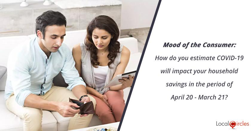 Mood of the Consumer: How do you estimate COVID-19 will impact your household savings in the period of April 20 - March 21? <br/> <br/>P.S.: Do account for lower spending due to lockdown and expected changes in earnings in this period.