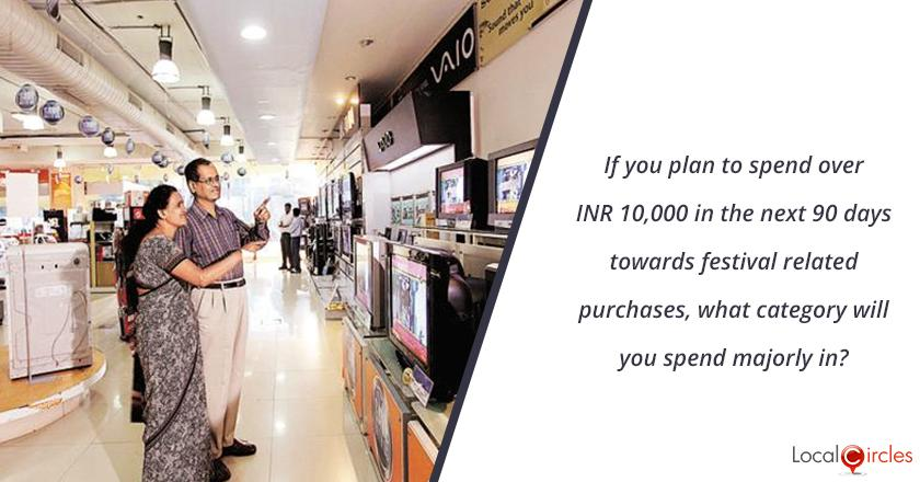 If you plan to spend over INR 10,000 in the next 90 days towards festival related purchases, what category will you spend majorly in?