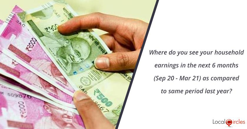 Where do you see your household earnings in the next 6 months (Sep 20 - Mar 21) as compared to same period last year?
