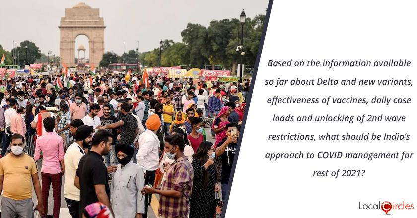 Based on the information available so far about Delta and new variants, effectiveness of vaccines, daily case loads and unlocking of 2nd wave restrictions, what should be India's approach to COVID management for rest of 2021?