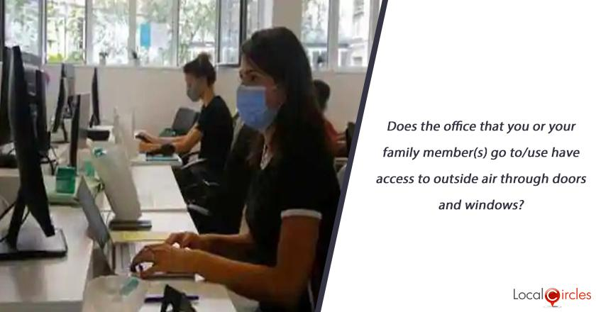 Does the office that you or your family member(s) go to/use have access to outside air through doors and windows?
