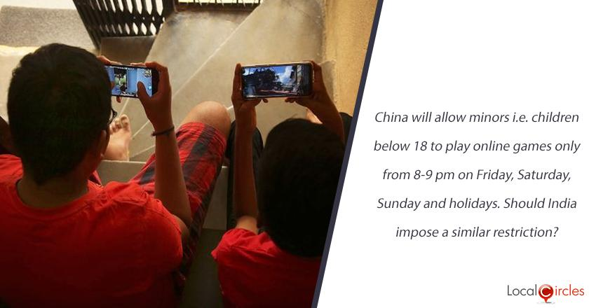 China will allow minors i.e. children below 18 to play online games only from 8-9 pm on Friday, Saturday, Sunday and holidays. Should India impose a similar restriction?