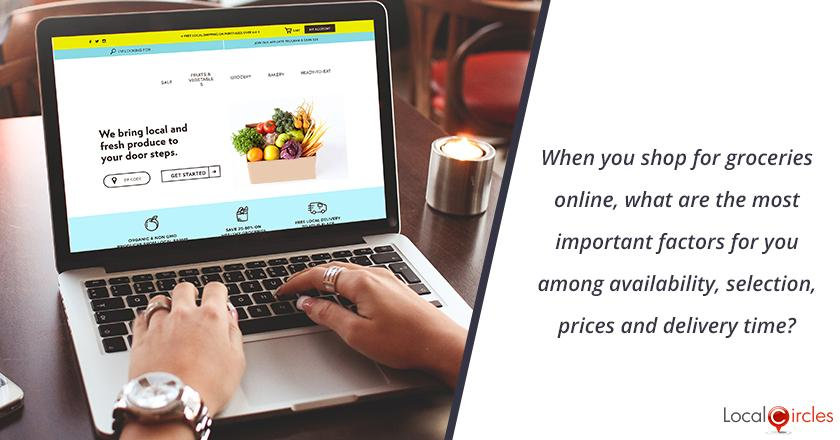 When you shop for groceries online, what are the most important factors for you among availability, selection, prices and delivery time? <br/> <br/>P.S. It is assumed that product quality is high in all cases and a basic standard for the service