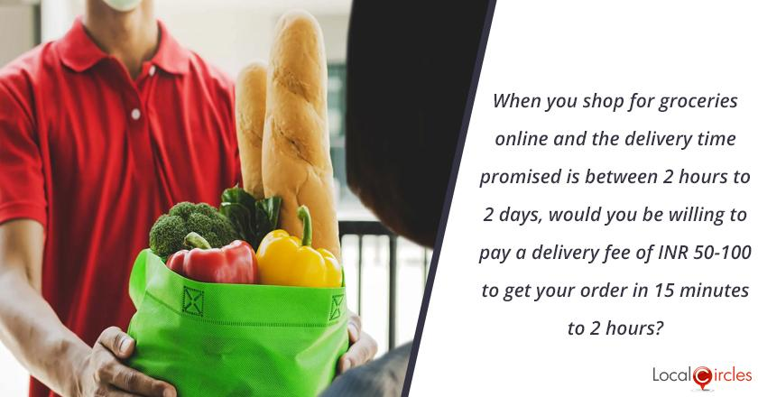 When you shop for groceries online and the delivery time promised is between 2 hours to 2 days, would you be willing to pay a delivery fee of INR 50-100 to get your order in 15 minutes to 2 hours?