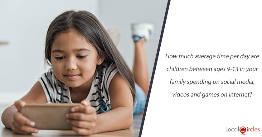 How much average time per day are children between ages 9-13 in your family spending on social media, videos and games on internet?