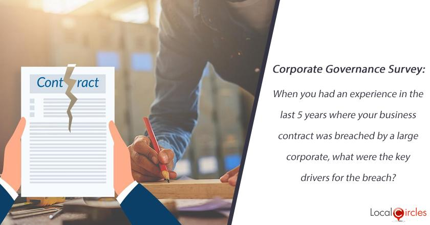 Corporate Governance Survey: When you had an experience in the last 5 years where your business contract was breached by a large corporate, what were the key drivers for the breach?