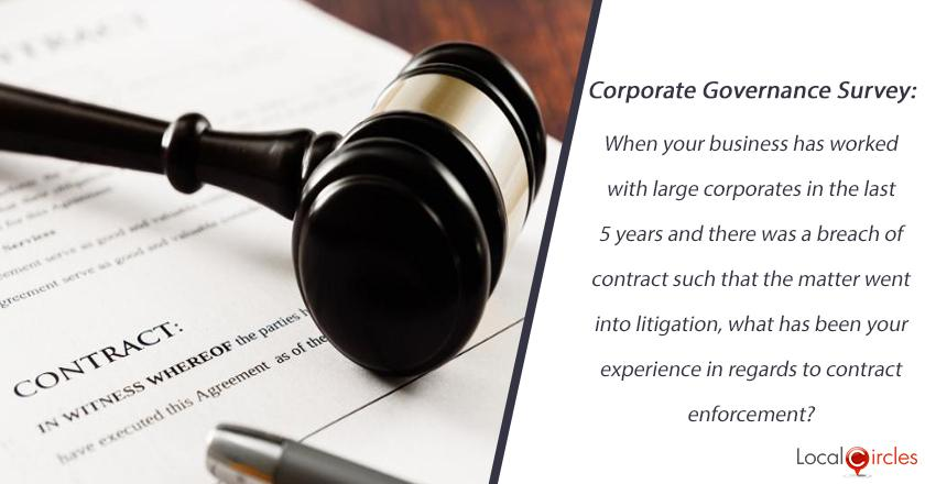 Corporate Governance Survey: When your business has worked with large corporates in the last 5 years and there was a breach of contract such that the matter went into litigation, what has been your experience in regards to contract enforcement?