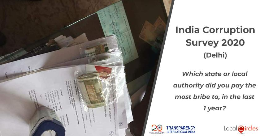 India Corruption Survey 2020 (Delhi): Which state or local authority did you pay the most bribe to, in the last 1 year?