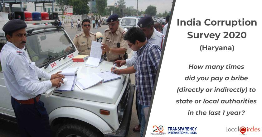 India Corruption Survey 2020 (Haryana): How many times did you pay a bribe (directly or indirectly) to state or local authorities in the last 1 year?