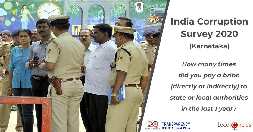 India Corruption Survey 2020 (Karnataka): How many times did you pay a bribe (directly or indirectly) to state or local authorities in the last 1 year?
