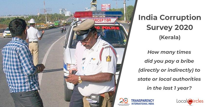 India Corruption Survey 2020 (Kerala): How many times did you pay a bribe (directly or indirectly) to state or local authorities in the last 1 year?