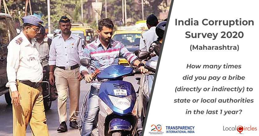 India Corruption Survey 2020 (Maharashtra): How many times did you pay a bribe (directly or indirectly) to state or local authorities in the last 1 year?