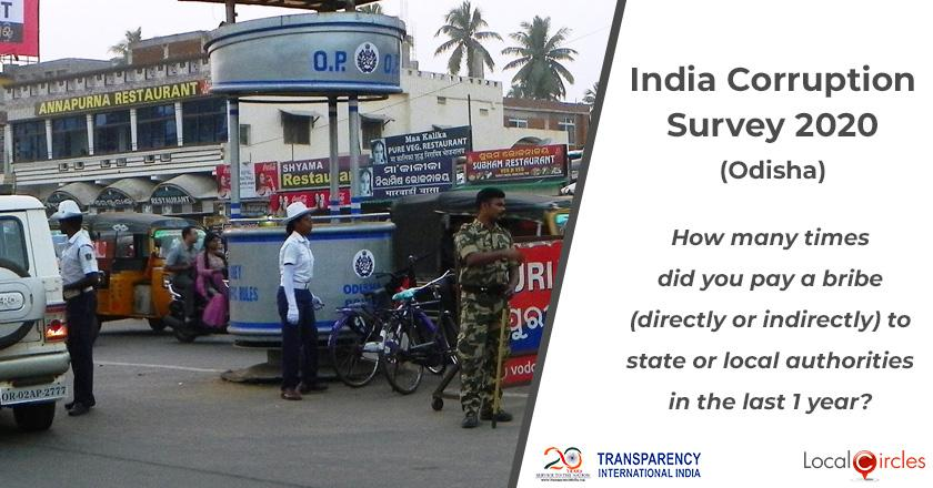 India Corruption Survey 2020 (Odisha): How many times did you pay a bribe (directly or indirectly) to state or local authorities in the last 1 year?