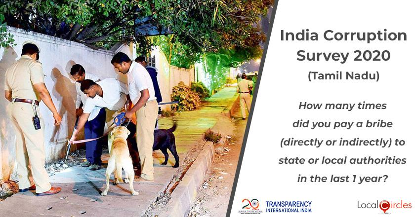 India Corruption Survey 2020 (Tamil Nadu): How many times did you pay a bribe (directly or indirectly) to state or local authorities in the last 1 year?
