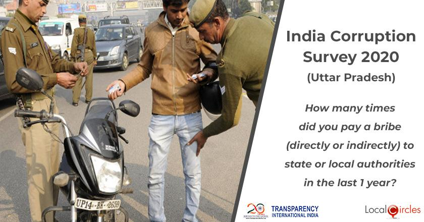 India Corruption Survey 2020 (Uttar Pradesh): How many times did you pay a bribe (directly or indirectly) to state or local authorities in the last 1 year?