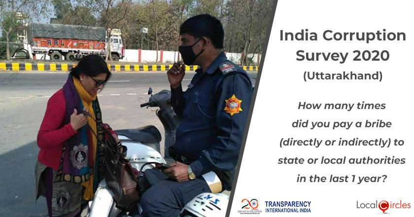 India Corruption Survey 2020 (Uttarakhand): How many times did you pay a bribe (directly or indirectly) to state or local authorities in the last 1 year?