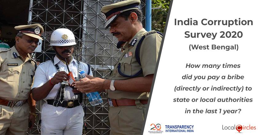 India Corruption Survey 2020 (West Bengal): How many times did you pay a bribe (directly or indirectly) to state or local authorities in the last 1 year?