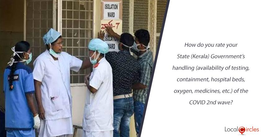 How do you rate your State (Kerala) Government's handling (availability of testing, containment, hospital beds, oxygen, medicines, etc.) of the COVID 2nd wave?