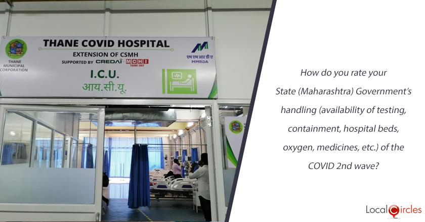 How do you rate your State (Maharashtra) Government's handling (availability of testing, containment, hospital beds, oxygen, medicines, etc.) of the COVID 2nd wave?