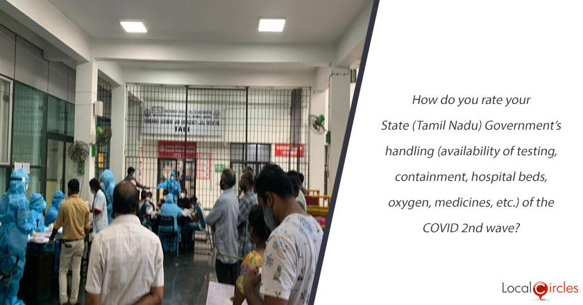 How do you rate your State (Tamil Nadu) Government's handling (availability of testing, containment, hospital beds, oxygen, medicines, etc.) of the COVID 2nd wave?