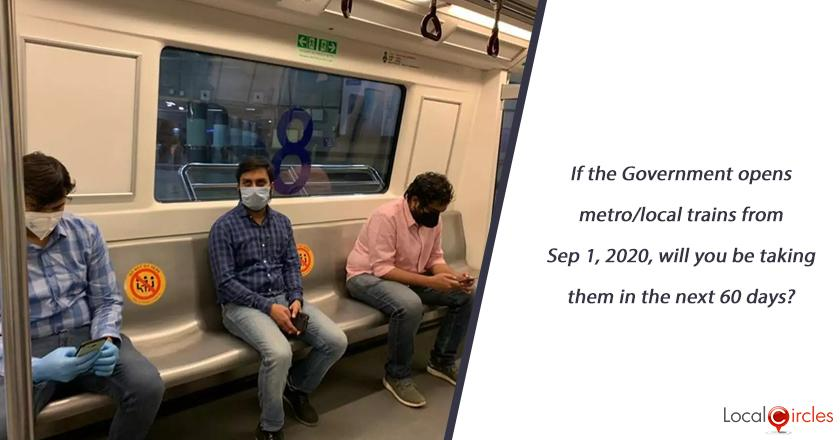 If the Government opens metro/local trains from Sep 01, 2020, will you be taking them in the next 60 days?