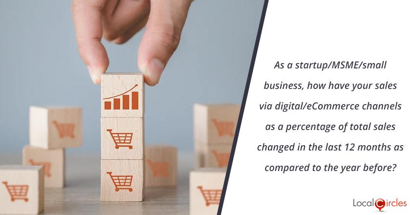 As a startup/MSME/small business, how have your sales via digital/eCommerce channels as a percentage of total sales changed in the last 12 months as compared to the year before?