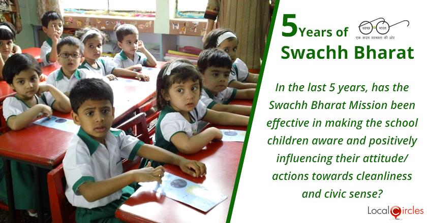 5 Years of Swachh Bharat Mission: In the last 5 years, has the Swachh Bharat Mission been effective in making the school children aware and positively influencing their attitude/actions towards cleanliness and civic sense?