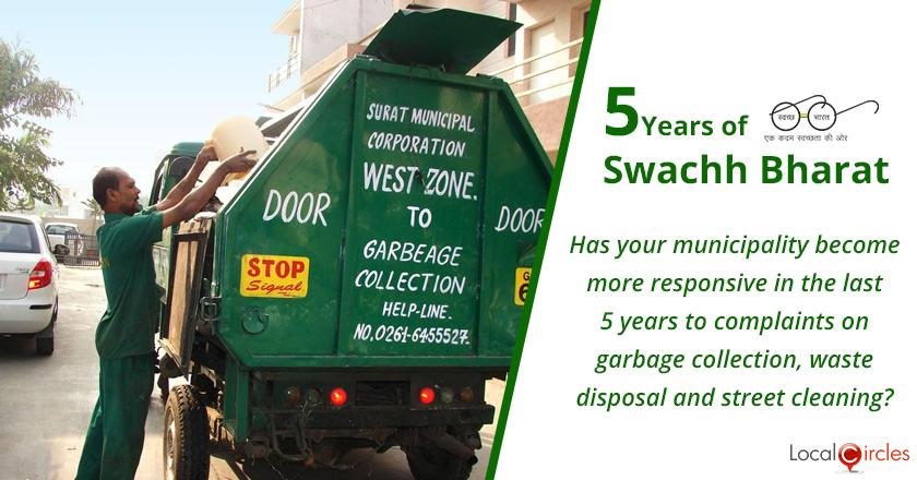5 Years of Swachh Bharat Mission: Has your municipality become more responsive in the last 5 years to complaints on garbage collection, waste disposal and street cleaning?
