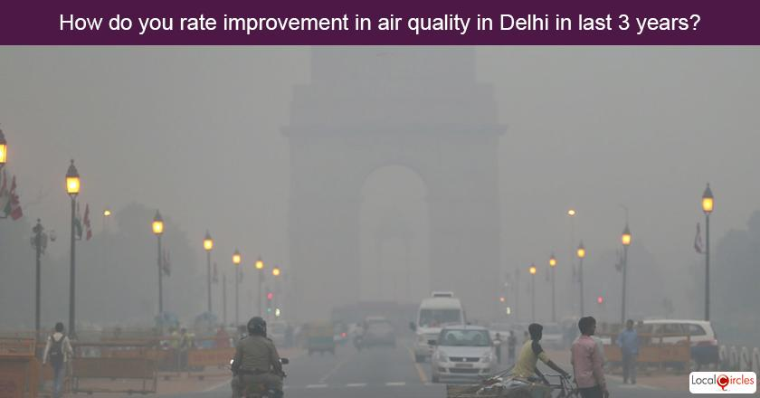 3 years of Delhi Government - How do you rate improvement in air quality in Delhi in last 3 years?
