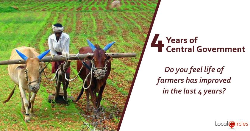 Evaluating 4 years of Central Government: Do you feel life of farmers has improved in the last 4 years? (If you or your family is not engaged in farming, please speak to someone in farming and then respond.)
