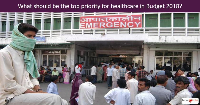 Budget 2018: Government's spending on healthcare has been coming down over years with spend in last budget being 1.2% of GDP. <br/> <br/>What do you think should be the top priority area for budgetary spend on healthcare in 2018?