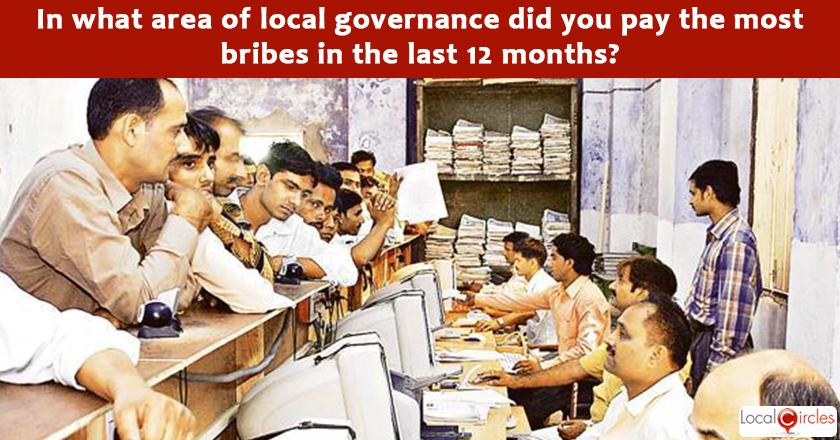 India Corruption Survey 2017: In what area of local governance did you pay the most bribes in the last 12 months?