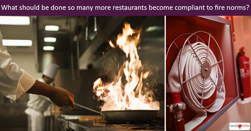 Currently only restaurants with 50 seats are required to take a Fire NOC in Delhi. What should be done so many more restaurants become compliant to fire norms? <br/> <br/> <br/>P.S. Some restaurants tend to have less than 50 seats and 200+ standing spaces but still operate without a fire license
