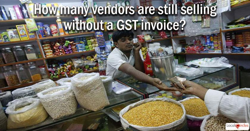 250 days of GST: What percentage of your monthly purchases are such where the vendor is selling without a GST invoice? <br/> <br/>Kindly exclude purchases of fruits, vegetables and other open items like milk, etc. done in local market.