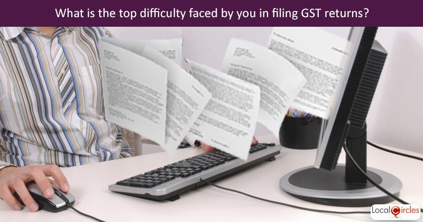 Making GST work better for businesses: Q1. What is the biggest difficulty being faced by you in filing GST returns ? <br/> <br/>P.S. If you are using an accountant/outsourced service provider, please check with them before answering.