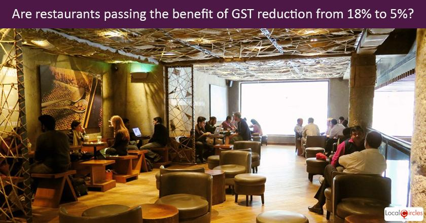 GST reduction for restaurants: After the reduction in GST for restaurants from 18% to 5% effective Nov 15, 2017, what has been your experience when eating out or doing take away from a restaurant? <br/> <br/>P.S. If you haven't had an experience, please visit a restaurant or food joint this weekend and then share your experience