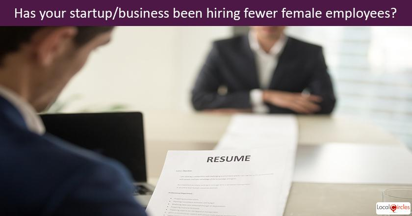From April 1, 2017 till Jan 1, 2018 how has your company/business hiring been on gender basis? <br/> <br/> <br/>This poll is being conducted to gauge the impact of Maternity Bill on hiring of women by startups/SMEs