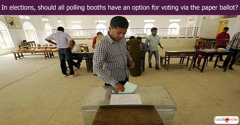 In elections, should all polling booths have an option for voting via the paper ballot?