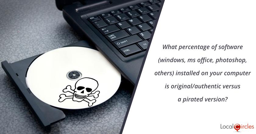 What percentage of software (windows, ms office, photoshop, others) installed on your computer is original/authentic versus a pirated version ? <br/> <br/>P.S. the poll responses are kept 100% confidential and your individual responses not shared with anyone.
