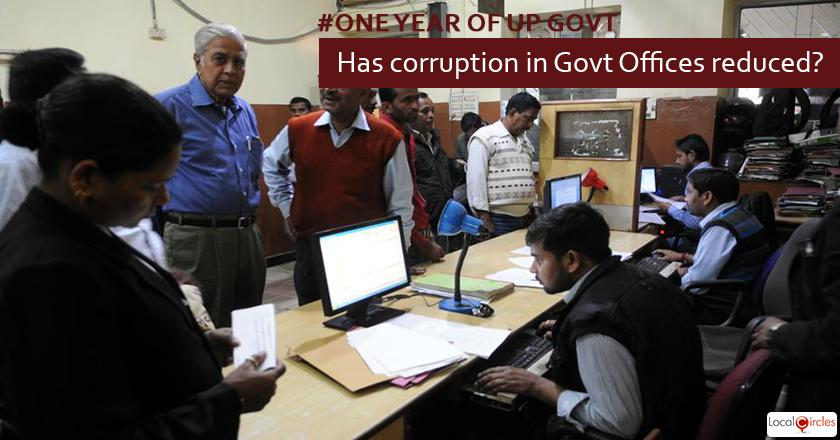 *1 year of UP Government: How do you rate reduction in corruption in local and state government offices in the last 1 year?