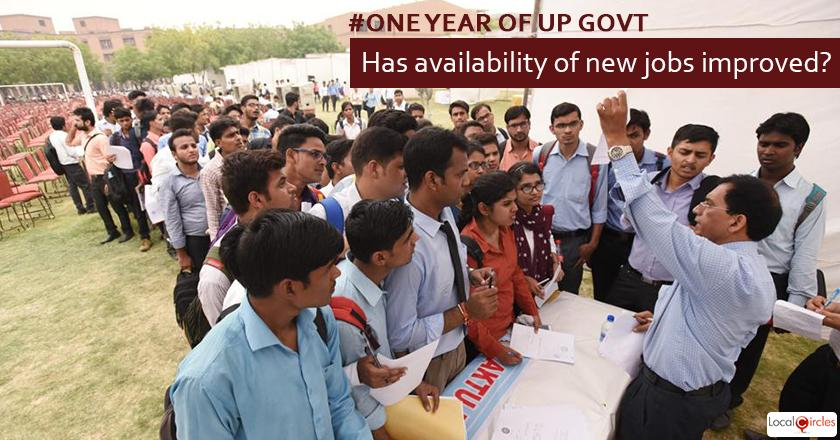 1 year of UP Government: How do you rate improvement in availability of new jobs and livelihood opportunitied as a result of the State Government's efforts in the last 1 year?
