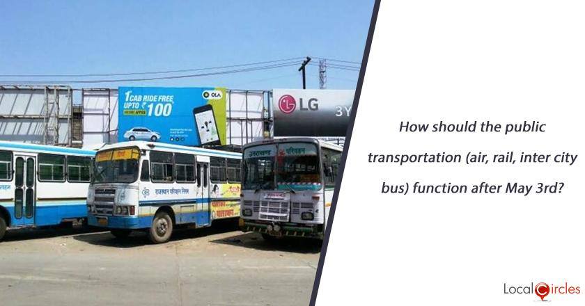 How should the public transportation (air, rail, inter city bus) function after May 3rd?