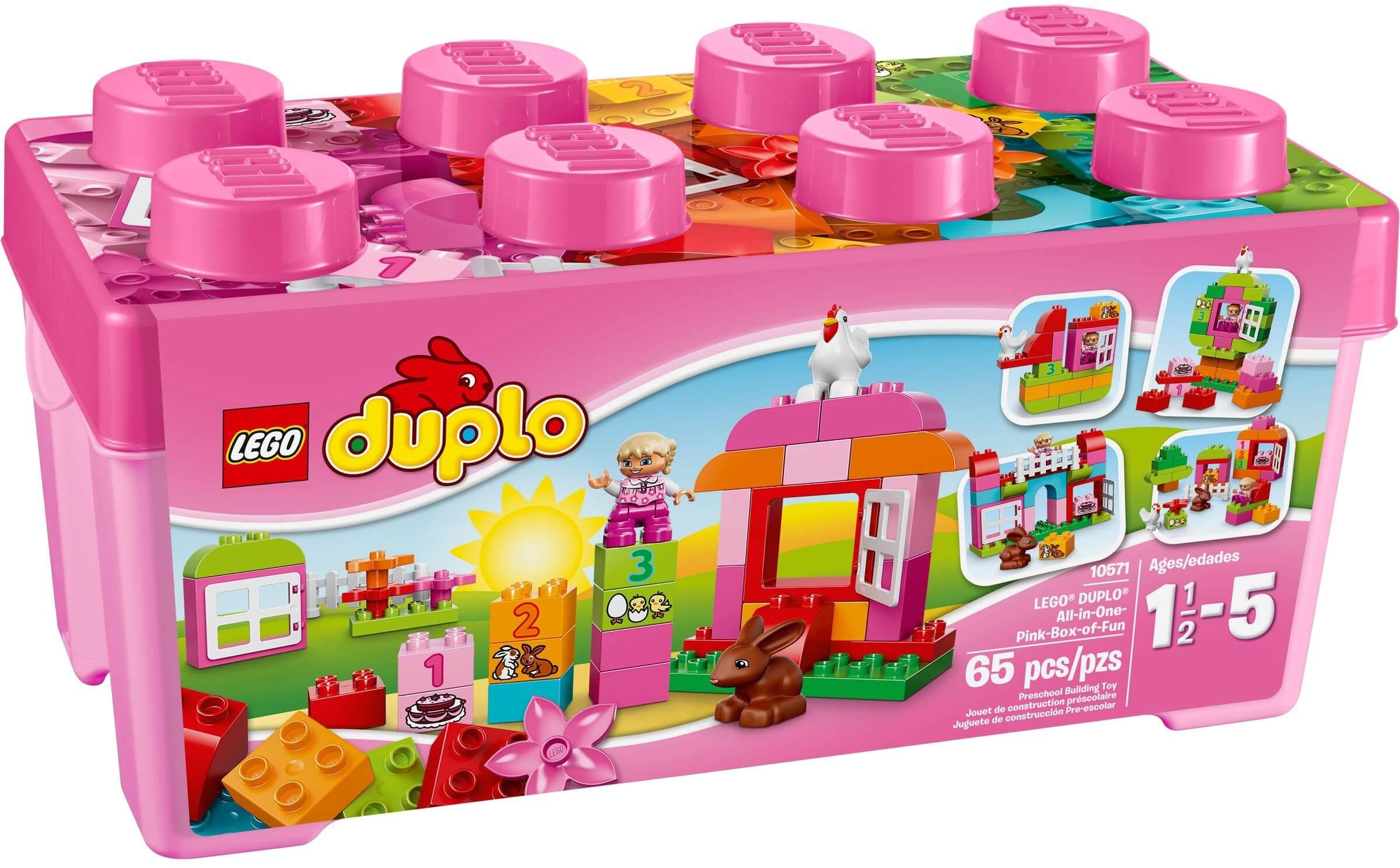 Mua đồ chơi LEGO 10571 - LEGO DUPLO 10571 - Thùng gạch LEGO DUPLO màu hồng 65 mảnh ghép (LEGO DUPLO All-in-One-Pink-Box-of-Fun 10571)