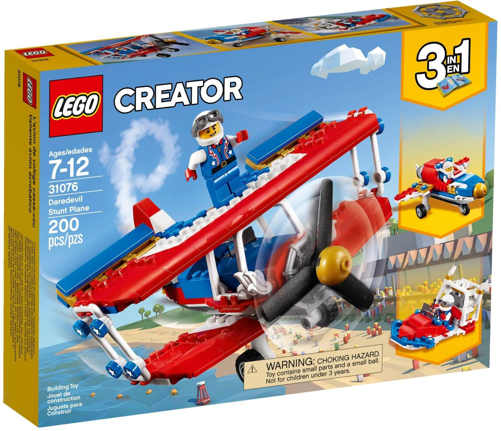 Mua đồ chơi LEGO 31076 - LEGO Creator 31076 - Xếp hình Máy Bay - Thuyền Đua biểu diễn 3-trong-1 (LEGO Creator 31076 Daredevil Stunt Plane)