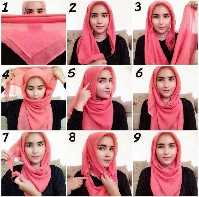 42 Cara Memakai Jilbab Segi Empat Simple dan Anggun
