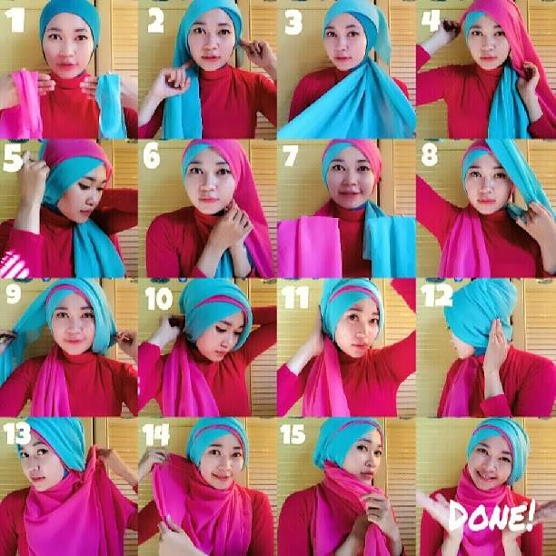 8 Cara Memakai Jilbab Dua Warna Untuk Pesta Dan Wisuda Hijabyuk Com