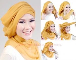 Hijab Pernikahan Simpel Segi Empat